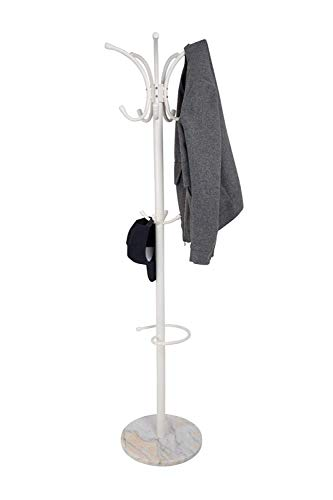 Gabz Free Standing Coat Stand With Rotating Hooks for Hanging Clothes & Accessories/Marble Base/Umbrella Holder (Pearl White)
