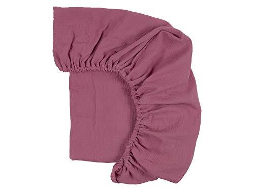 KraftKids Sábana bajera de muselina púrpura de 100% algodón en tamaño 120 x 60 cm, funda de colchón hecha a mano fabricada en la UE