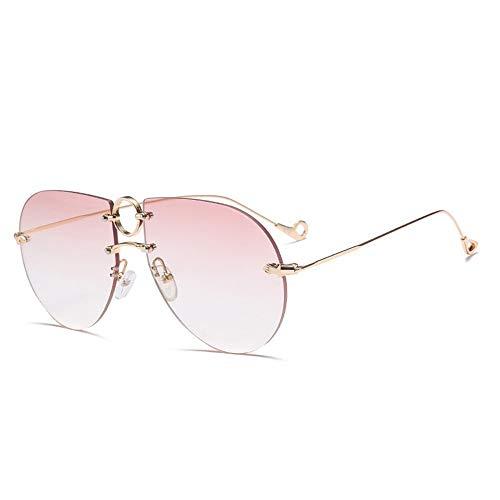 KK Timo Gafas De Sol Sin Montura De Color Rosa Plateado Moda Gafas De Sol De Gran Tamaño Personalizadas Cubiertas Gafas De Street Face (Color : Pink)