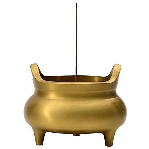 TaoRan Wierook brander zuiver koper huishoudelijke indoor voor Boeddha lijn wierook coil wierook brander drie voet dubbele brug oor thee ceremonie voor sandelhout oven