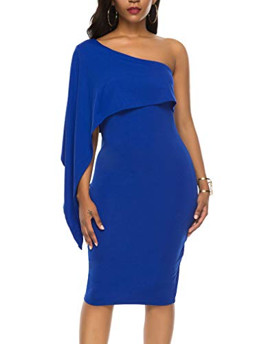 Halife Women's Ruffle One Shoulder Bodycon Party Club Cocktail Evening Dress Royal Blue XL