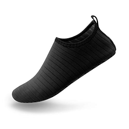 SIMARI Anti Slip Water Shoes for Women Men Summer Outdoor Beach Swim Surf Pool SWS001 Stripe Black 11.5-12.5