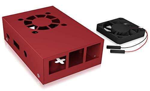Icy Box Raspberry Pi 3 behuizing, volledig van aluminium, 2 koelelementen, wandmontage mogelijk, zwart Met ventilator rood