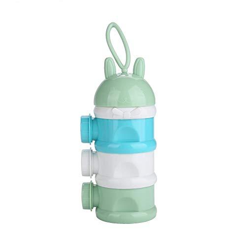 TOPINCN Tragbare Cartoon Baby Milchpulver Box Formel Dispenser Side Open 3 Schichten Süßigkeiten Snack Box Lebensmittelbehälter (Grün)
