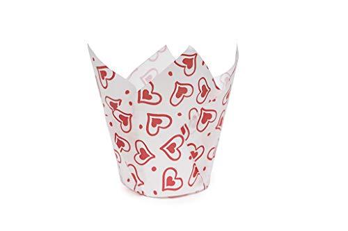 Ecopack, Pirottini da Forno a Forma di Tulipano, in Carta Biodegradabile, con Fantasia Cuori San Valentino, Resistente Fino a 220°C, Linea Cotto con Amore, Dimensioni 5x5,5-8 cm, 50 Pezzi