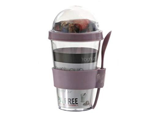 meindekoartikel Joghurt-Becher Snack-Box Togo mit Löffel und Behälter im Deckel für Müsli oder Obst (Flieder)