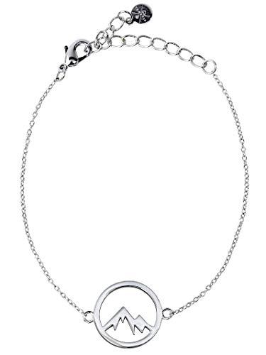 VIASOUL® Armband Berge für Damen I Berg Kette mit 585er Gold überzogen I Die Original Mountain Love Kette (Silber)
