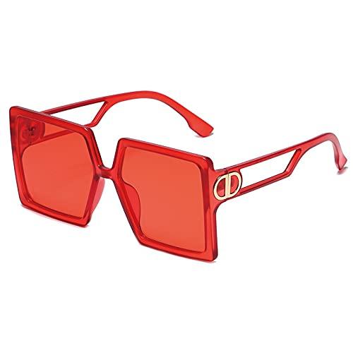 AMFG Gafas de sol con marco cuadrado retro Femenino Tendencia Personalidad Hollow Gafas de sol (Color : A)