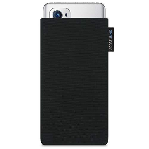 Adore June Classic Schwarz Tasche kompatibel mit OnePlus 9 Pro Handytasche aus beständigem Cordura Stoff mit Bildschirm Reinigungs-Effekt, Made in Europe