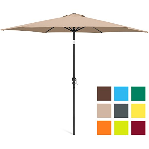 Best Choice Products 10ft Outdoor Steel Market Backyard Garden Patio Umbrella w/ Crank, Easy Push Button Tilt, 6 Ribs, Table Compatible - Tan