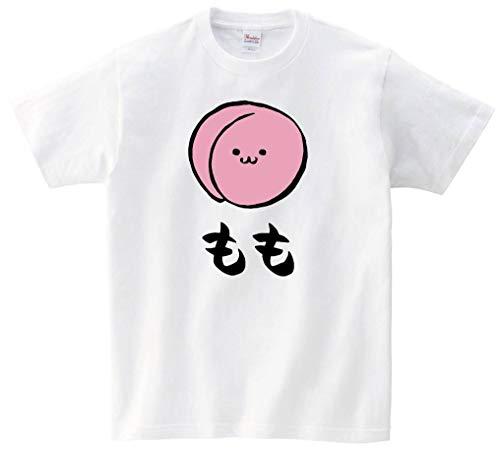もも モモ 桃 野菜 果物 筆絵 イラスト カラー おもしろ Tシャツ 半袖 ホワイト L