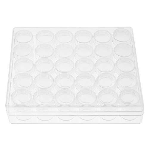 Caja organizadora de plástico transparente con contenedor de almacenamiento para joyas, con divisores ajustables, caja de plástico transparente con bordado de diamantes, pequeños frascos redondos con