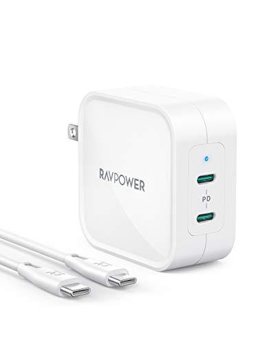 充電器 type-c RAVPower PD対応 90W 2ポートUSB-C×2 急速充電器 (GaN (窒化ガリウム)採用/2ポートで出力最適化システムPD Pioneer Technology採用/PD3.0対応/ PSE認証済 iPhone、iPad Pro、MacBook Air、SwitchなどUSB-C機器対応 【Amazon.co.jp 限定】ホワイト