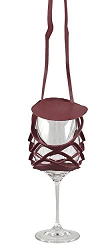 VINSTRIP Glassling - Soporte para copas de vino con protección contra salpicaduras, color burdeos