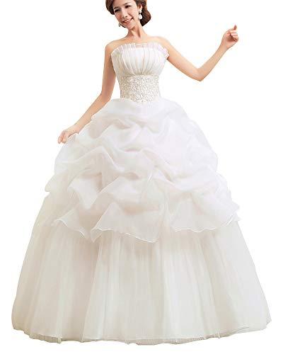 Damen Elegant Abschlussballkleider Bandeau Kleid Hochzeitskleid Mit Stickerei Brautkleid Beige XL