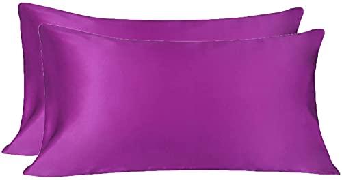 Hansleep Funda Almohada 50x75cm de Satén Ciruela púrpura, Sedoso estándar para 4 Piezas, con Cierre de sobre, Muy Liso Suave de 100% Microfibra, Belleza Facial, Cuidado de la Cara, hipoalergénico