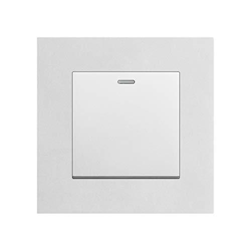 Interruptor de luz de pared, 1Gang 1/2Way 16A 250V Panel de PC ignífugo Blanco/Negro/Dorado/Gris/Astilla 86Mm * 86Mm Interruptor basculante PC Silver 1gang 2way