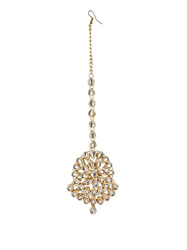 Traditionelle Perlen-Maang-Tikka-Ohrringe für Damen, Indischer Hochzeitsschmuck für Brautparty
