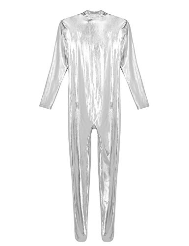 inhzoy Mens Stretchy Patent Leather Short Sleeves Zipper Crotch Full Body Leotard Bodysuit