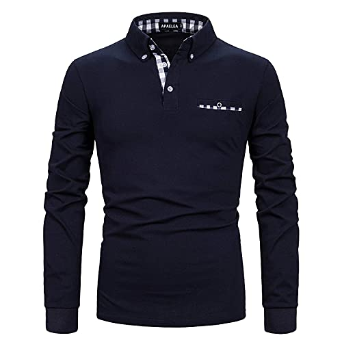APAELEA Poloshirt Herren Langarm Baumwolle Golf T-Shirt Casual Tops,Navy blau,3XL