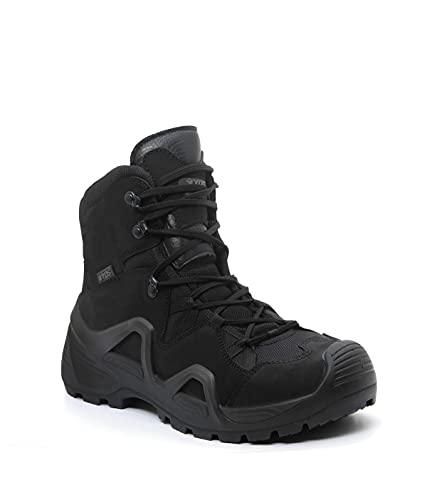 YDS® Astor Mid Cut GTX Militär Stiefel, Gore-Tex, Outdoor- und Freizeitschuhe, atmungsaktiv, Gummisohle, komfortabel, Nubukleder, Schwarz - Schwarz - Größe: 40 EU