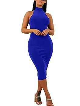 GOBLES Women s Sexy Halter High Neck Elegant Sleeveless Bodycon Midi Club Dress Royal Blue