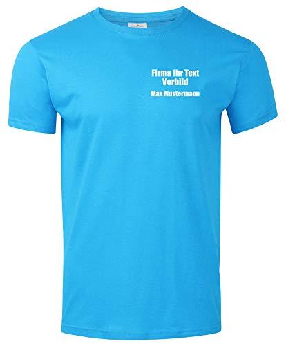 Arbeitsshirts mit Logo. T-Shirt mit Firmenlogo auf der Brust. Gestalte Deine eigene Arbeitskleidung mit Brustlogo oder als Werbeartikel. Hellblau L
