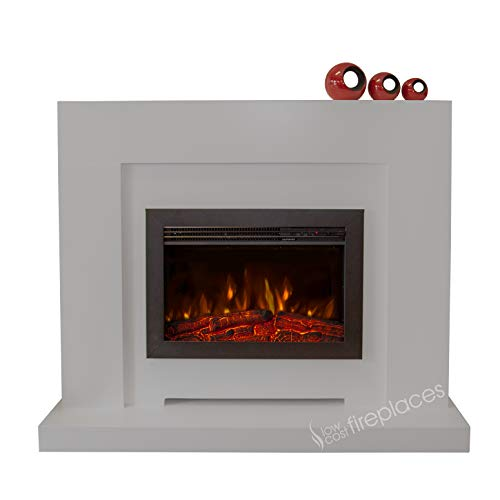 """Electric Modern Grey Surround LED Fireplace Suite Black Floating Fire 48"""""""