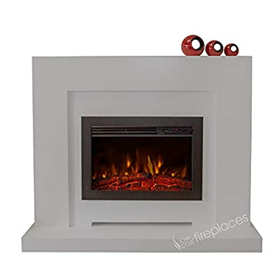 Electric Modern Grey Surround LED Fireplace Suite Black Floating Fire 48""
