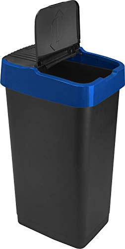 Sterling Ventures Heidrun 60L Plastic Indoor Recycling Bin with Double Swing Lid Top Colour Coded (Blue)