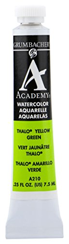 Grumbacher Academy Watercolor Paint, 7.5ml/0.25 Ounce, Thalo Yellow Green (A210)