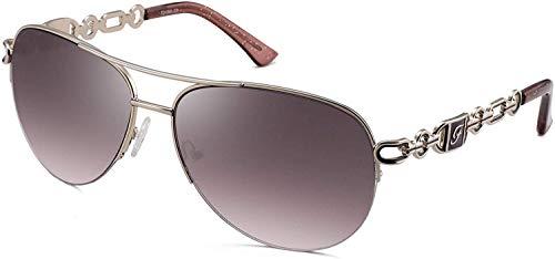 FENCHI Gafas de sol de aviador para mujer, espejo UV 400, protección de lentes, marco de metal exquisito clásico 0257A (Lens?brown/Frame?shiny Silver/Temple?purple)