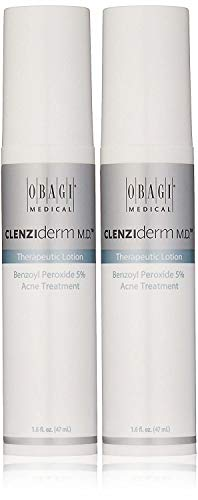 Obagi Medical CLENZIderm M.D. Therapeutic Lotion Benzoyl Peroxide 5% Acne Treatment, 1.6 Fl Oz Pack of 2