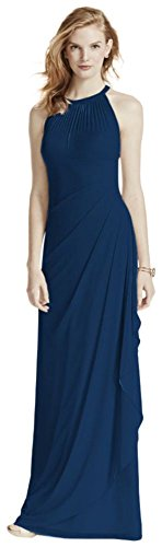 David's Bridal Long Mesh Bridesmaid Dress with Illusion Halter Neckline Style F15662, Marine, 18