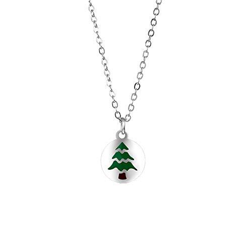 Gudeke Frauen Weihnachtsschmuck Zubehör Santa Tree Striped Star Anhänger Halskette (Weihnachtsbaum)