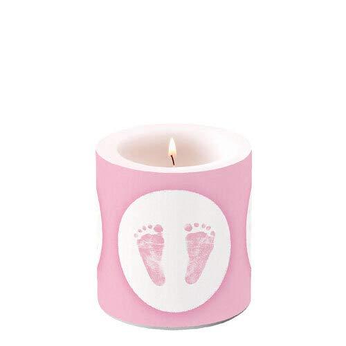 Kaars ronde voetafdrukken baby roze als tafeldecoratie voor babyshowers en doop Ø 7,5 cm, hoogte 8 cm