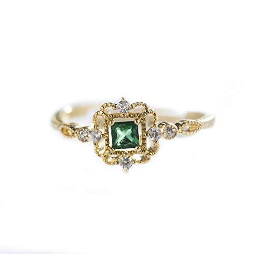 Qiyun.z Anello semplice con anelli in pietra di zircone verde per le donne Fidanzamento di lusso Anelli di cristallo quadrati di lusso Gioielli regolabili in oro