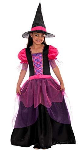 Magicoo Zauberhexe Hexenkostüm Kinder Mädchen pink lila schwarz - Kleid & Hut - Gr 110 bis 140 - Halloween Hexe-Kostüm Kind (134/140)