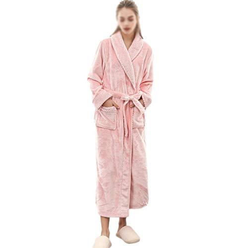 NXYJD Vestido de Noche para Mujer, de Franela, de Invierno Alargada de coralina de Felpa, Chal, Albornoz, de Manga Larga, Abrigo (Color : Pink, Size : Medium)