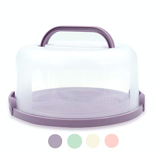 Top Shelf Elements Cake Carrier For Up To 10 inch x 4 1/2 inch Cake. Two Sided Fashionable Lilac Stand Doubles as Five Section Serving Tray