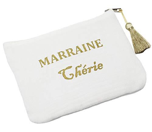 Oh My Shop ATM126 - Trousse Pochette Coton Blanc Message Marraine Chérie Pompon Doré