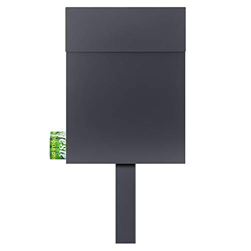MOCAVI Sbox 500 Stand-Postkasten freistehend mit Zeitungsfach anthrazit-grau Standbriefkasten Pfosten zum Einbetonieren