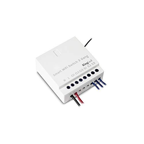 Kingled – Switch Intelligente per Trasformare 3 Circuiti Luci con Interruttore Semplici in Smart WiFi – Compatibile con Alexa, Google e Smartphone