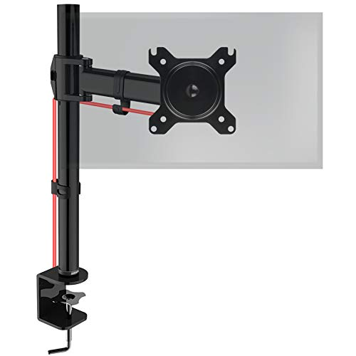 Duronic Single Monitor Arm Stand DM251X2 | PC Desk Mount | Steel | Height Adjustable | For One 13-27 Inch LED LCD Screen | VESA 75/100 | 8kg Capacity | Tilt -90°/+35°, Swivel 180°, Rotate 360°