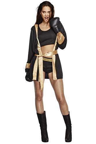 Smiffy'S 31126S Disfraz Fever De Boxeadora Con Camiseta, Shorts Chaqueta Y Guantes, Negro, S - Eu Tamaño 36-38