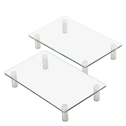 FITUEYES Monitor Stand Glass Transparent 2 pack PC Laptop Computer Screen Riser L38.5xW24xH7.5cm DT103803GC
