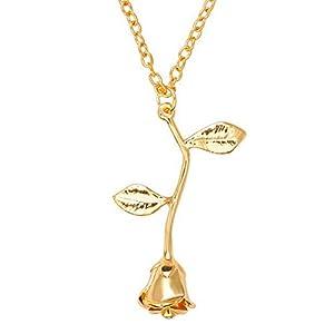ExhilaraZ Valentine's Day Women Fashion 3D Rose Flower Pendant Alloy Chain Necklace Valentines Day Jewelry