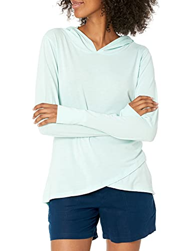 Amazon Essentials Women's Studio Long-Sleeve Lightweight Cross-Front Hoodie, -blue light, Medium