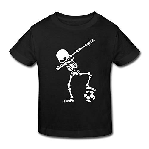 Dabbing Skelett Mit Fussball Dab Gerippe Halloween Kinder Bio-T-Shirt, 122/128 (7-8 Jahre), Schwarz