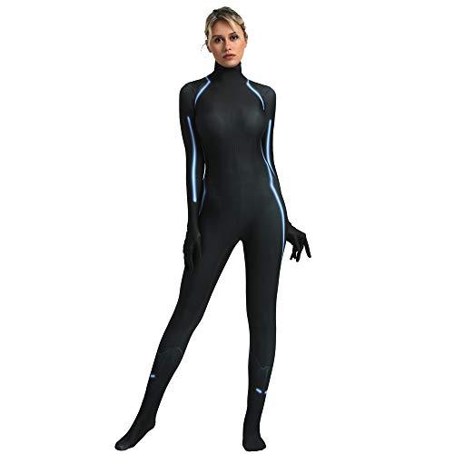 FYBR Costume da Vedova Nera - Adulto Unisex Uomo & Donne Seconda Pelle Avengers Zentai Tutina Vestito Halloween Lycra, Nero, Extra Large